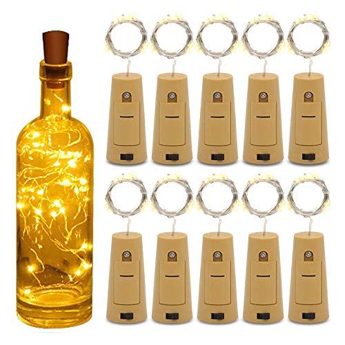DZHT Botella De Vino Corcho Luces De Cadena 20 Luces LED De Hadas Energía De Batería Fiesta Boda Navidad Decoración De Halloween Bar Luces De Botella (Color : Blue)
