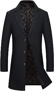 Men's Winter Wool Trench Coat Long Pea Coat Thicken Cotton