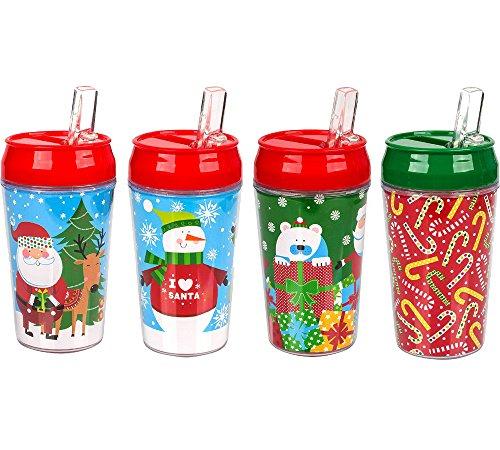 Christmas Travel Tumbler 4 Pack, 11 oz Santa Claus, Christmas Tree and Snowman Designs - bogo Brands