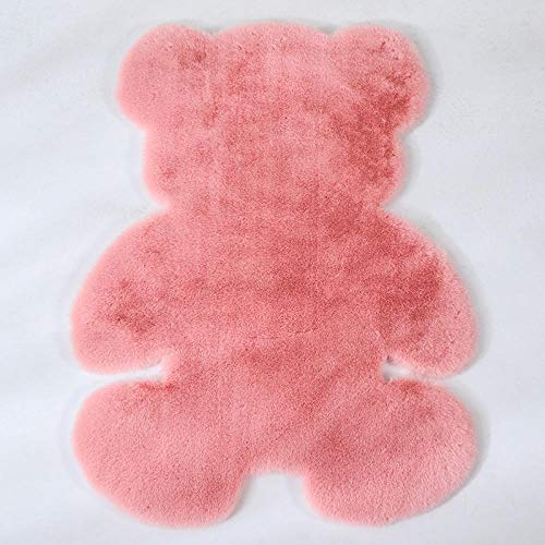 CVMFE Innenteppiche Cartoon Bär Teppich Flauschige Haarige Kaninchen Pelz Teppich Kinder Kinderzimmer Plüsch Künstliche Wolle Matte Stuhl Kissen-Rosa_120 X 160 cm