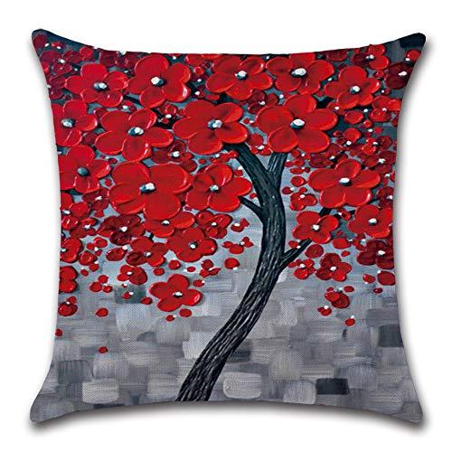 NAID 4 stks Kussensloop Decoratieve Lijnzaad Olieverfschilderij Mangrove Print Kussensloop voor Home Office Sofa Decoratie 45 * 45cm