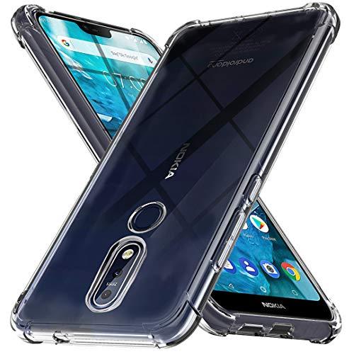 Ferilinso Cover per Nokia 7.1 Cover, [Rinforzare la Versione con Quattro Angoli] [Protezione per la Fotocamera] Custodia Protettiva in Silicone Morbido Antiurto in Gomma TPU (Trasparente)