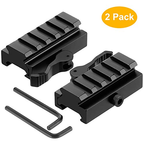 Picatinny Riser Mount 2 Pack Low Profile Rail Riser Mounts Adaptor - with QD Lever Lock Quick Release/Detach & 5 Slots Picatinny Rails - for Scope Rings Optics Sights - 1/2' H x 2.5'' L