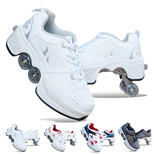 PHONEX Roller Skates for Women, 2-in-1 Parkour Shoes/Inline Roller Skating Shoes,Double-Row Quad Roller Skates Outdoor Sports Kick Rollershoes,A-EU42/US8