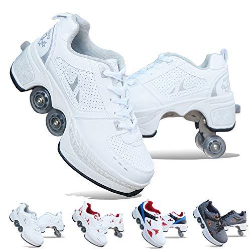 ZHANGJUN Skateboarding Shoes,Turnschuhe Rollschuhe Inline-Skates Rollerblades 2-in-1-Mehrzweckschuhe Rollenschuhe Für Erwachsene Und Frauen Deformationsräder,White-EU37/UK5.5