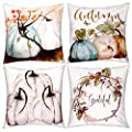 Jetec 4 Pieces Pumpkin Decorative Pillow Cover Pillow Case Sofa Back Throw Cushion Cover for Autumn Thanksgiving Day Christmas Halloween Day Home Decoration, 18 by 18 Inches