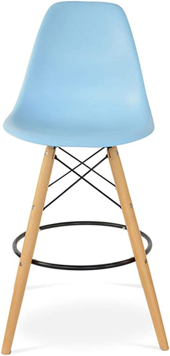 Bar Stools bluee PP Resin Eiffel Chair Retro Dining Chair Counter Chairs Kitchen Livingroom Bedroom Office Cafe Sitting Height:70cm