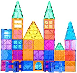 Magnetic Tiles Building Blocks, 3D Clear Magnetic Blocks Construction Playboards, Inspiration Building Tiles Creativity Be...