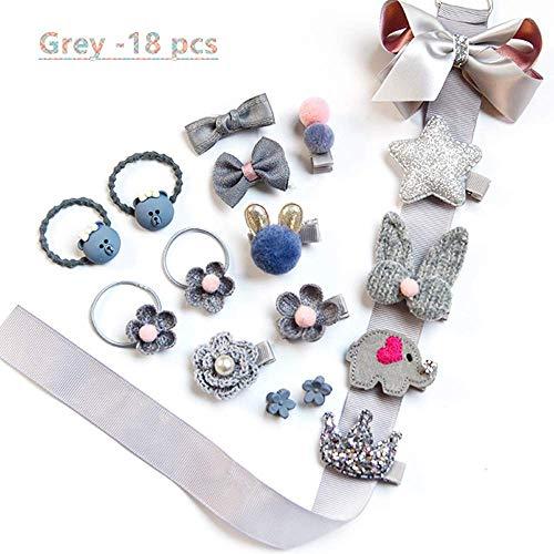 NFACE 18 stücke Geschenk Set Haarschmuck Baby Kleine Mädchen Haarspangen Bögen Krawatten Kleinkinder Haarspangen Haarnadeln Set Kopfschmuck Grau