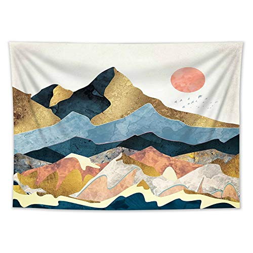 QUNMTP tapizPintura de Paisaje Chino Tapiz Colgante Puente de Piedra de montaña Edificio Antiguo tapices Colgantes de Pared Manta Cortina de Tela