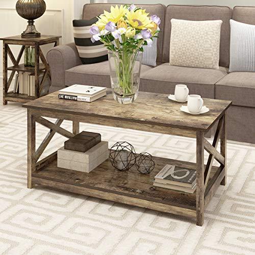 Rainbow Sophia Modern Farmhouse Wood X Frame Coffee Table with 2-Tier Storage, 40 Inch, Rustic