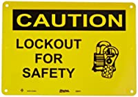 """Master Lock S8051 14"""" Width x 10"""" Height Polypropylene, Black on Yellow Safety Sign, Header """"Caution"""", Legend """"Lockout For Safety"""" (with Picto)"""