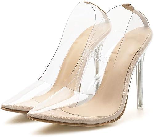SYXLBDK Chaussures Femme Femme Décontracté Le Printemps Transparent 11 Cm De Talon Haut Crystal Sandales Super Talon Haut Sexy Pointu Seule Chaussure Trente - Sept Abricot  acheter pas cher neuf