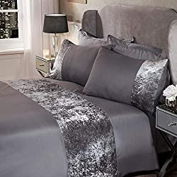 """Luxury crushed velvet band quilt duvet cover with matching pillow case bedding set. Elegant look for any bedroom Colour: silver, with a hint of grey for an added sparkle Double Size: Fits duvet cover - 198cm x 198cm (78"""" x 78""""), pillowcases - 48 x 74..."""