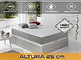Dormi Premium Delux 25 - Colchón Viscoelástico, 150 x 190 x 25 cm, Algodón/Poliuretano, Blanco/Gris, Matrimonio