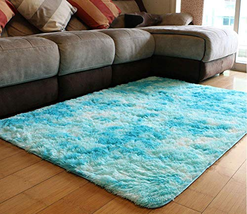 PAGISOFE Fuzzy Abstract Area Rugs for Bedroom Living Room Fluffy Shag Fur Rug for Kids Nursery Dorm Room (Blue and White) Furry Rugs Shaggy Decorative Accent Rug for Home Floor Carpet Multicolor