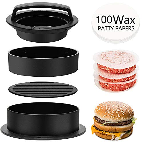 Jackcell Hamburger Press Patty Maker 3in1 Non Stick Stuffed Burger Press with 100 Wax Papers Cookery Mold Tool for BBQ Grilling Hamburgers Beef Patties and Sliders