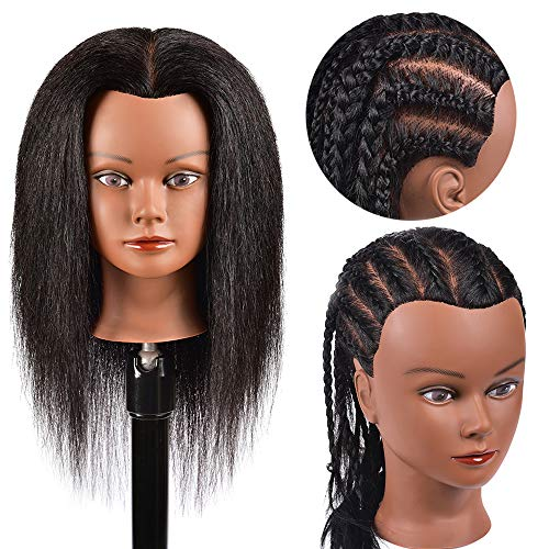 Mannequin Head Hair 100% Real Hair Mannequin Head Training Head Manikin Cosmetology Doll Head Hairdresser Practice Styling Training Head Doll for Braiding Mannequin Head Natural Hair Training Head