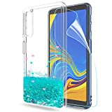 LeYi Hülle Galaxy A7 2018 Glitzer Handyhülle mit HD Folie Schutzfolie,Cover TPU Bumper Silikon Flüssigkeit Treibsand Clear Schutzhülle für Hülle Samsung A7 2018 (A750) Handy Hüllen ZX Turquoise