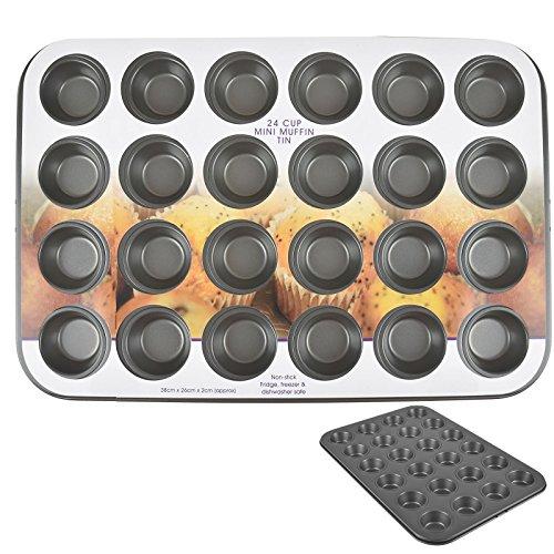 Asab Mini Muffins Plat de cuisson antiadhésif de cuisson Poêle en acier carbone de cuisine en silicone à tarte Yorkshire pudding Moule à cupcake Tin, 24 Cup