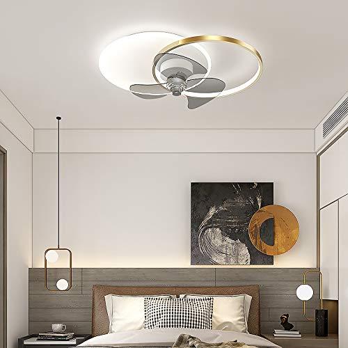 XJY Led Lámpara De Techo con Ventilador Control Remoto Atenuación Continua Ventiladores De Techo con Iluminación Moderno Silencioso 6 Velocidad del Viento 48w Cuarto Sala Oficina Habitación,Negro