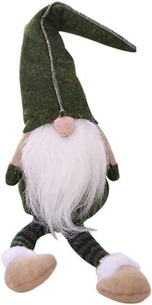 Beautyonline Swedish Santa Gnome Plush Doll Handmade Scandinavian Tomte Nordic Nisse Sockerbit Elf Home Household Ornaments Birthday Present And Christmas Santa Decoration Green 01 19 7 X 4 3 Inch