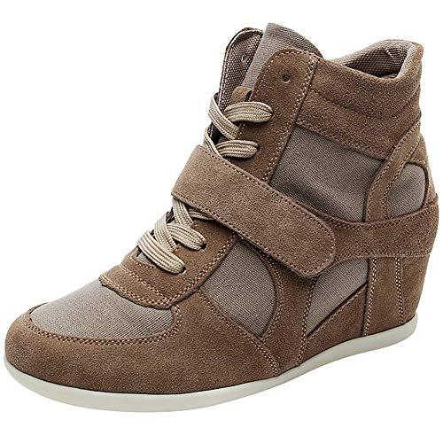 Rismart Mujer Tacón de cuña Linda Cómodo Bucle De Gancho Tela&Ante Cuero Casual Zapatillas Zapatos(marrón,38.5 EU)