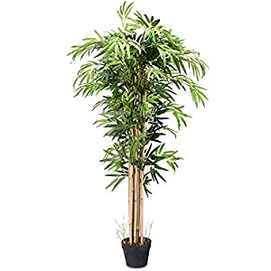 BestComfort 5ft Artificial Bamboo Tree, Fake Greenery Plants in Pots for Indoor and Outdoor, Beautiful Faux Tree with Leaves and Natural Trunk for Home Office Modern Decoration