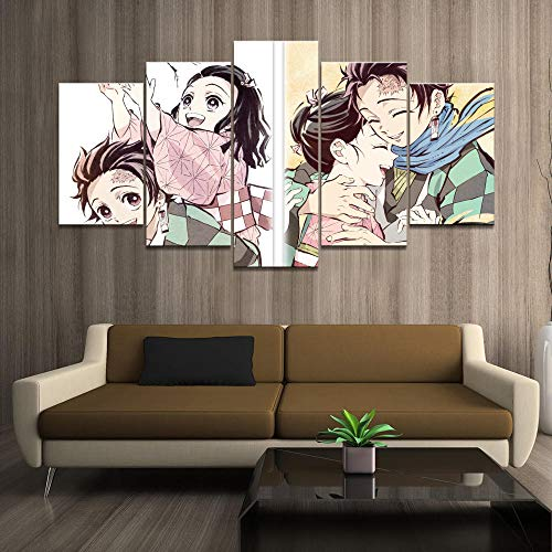RYTR Leinwanddrucke 5 Stück,Dämonenjägerin Kimetsu No Yaiba Comic Poster AnmationLeinwand Bilder Moderne Wandbilder Wohnzimmer Wohnkultur Leinwand Gemälde Modulare Bilder-150x80cm,mit Rahmen