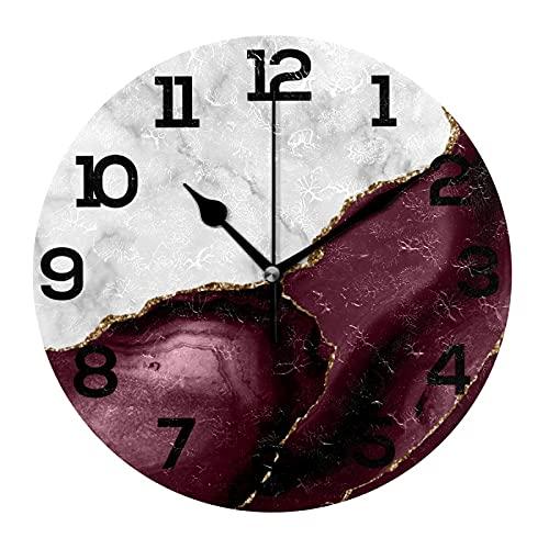 AMONKA Reloj de pared de acrílico redondo de mármol blanco dorado de ágata burdeos que no hace tictac, silencioso, para decoración del hogar, sala de estar, cocina, dormitorio, oficina, escuela