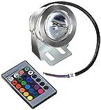 Lemonbest Remote Control 10w 12v Water Resistant RGB LED Underwater Light Lamp for Landscape Fountain Pond Lighting