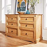 Home Source Chest of Drawers Pine 6 Drawer Solid Pine Mexican Corona Wax Finish Sideboard