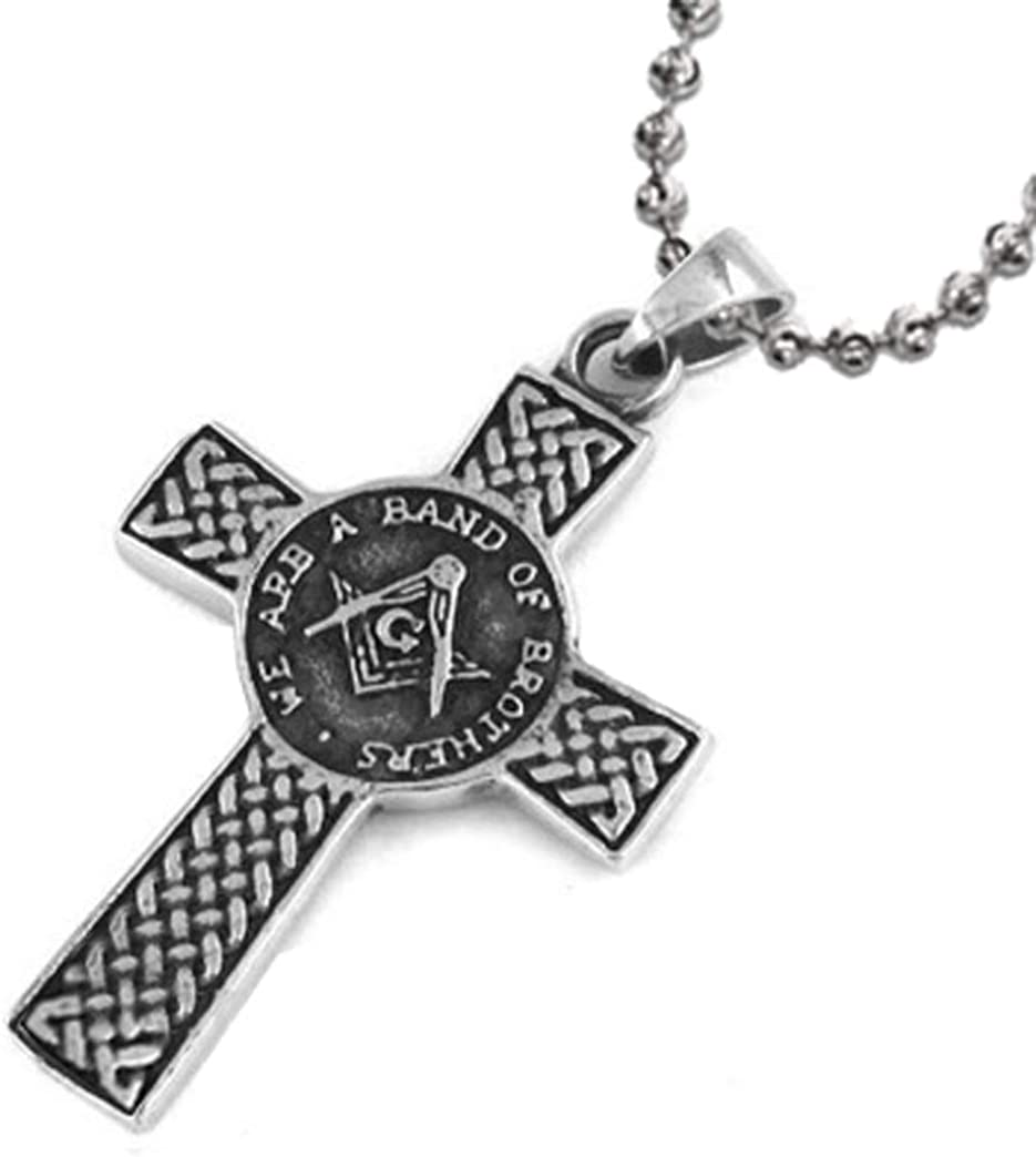 Masonic Pendant/Freemason Pendant/Masonic Celtic Cross Necklace - We are a Band of Brothers - Stainless Steel with Chain