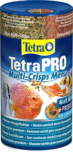 Tetra Pro Menu Premiumfutter (Flockenfutter-Mischung für alle tropischen Zierfische, enthält Multi-Crisps für Energie, Farbe, Wachstum, für eine gezielte Fütterung), 250 ml Dose