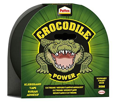 Pattex Crocodile Power Klebeband, starkes Gewebeband mit doppelter Dicke, extreme Widerstandsfähigkeit für schwierigste Reparaturen, Duct Tape für verschiedene Materialien, schwarz, 1 x 30m