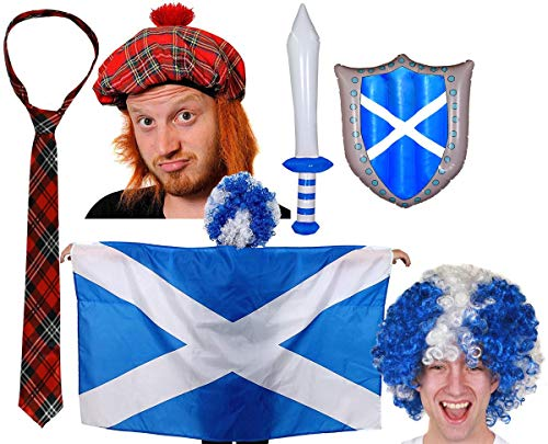 ST ANDREWS CROSS WIG BURNS NIGHT RUGBY FOOTBALL FANCY DRESS ACCESSORY SET