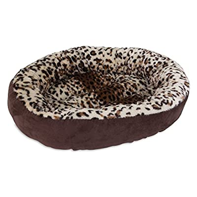 Aspen Pet Round Animal Print Pet Bed for Small Dogs and Cats 18-inch by 18-inch