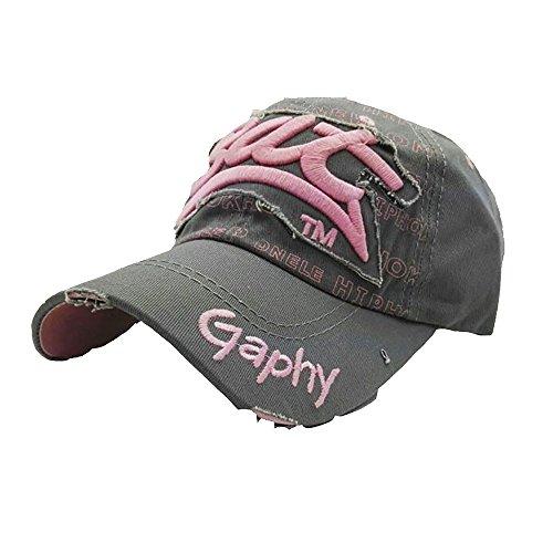 Qmber Herren Golf Sports Flexible Cap Metal Hat Soft Brim Lightweight Running Hat Waterproof Breathable Quick Dry Sport Cap for Men and Woman Gestickter Brief Hüte Hip Hop/Grau
