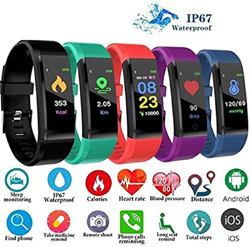 VARWANEO Unisex Smartwatch PhonesWaterproof Fitness Watch with Blood Pressure Heart Rate Monitor Sport for Android iOS