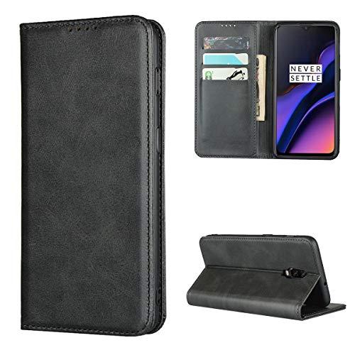 Copmob Hülle Oneplus 6T,Premium Flip Leder Brieftasche Handyhülle,[3 Kartensteckplatz][Ständerfunktion][Magnetverschluss],Ledertasche Schutzhülle für Oneplus 6T - Schwarz