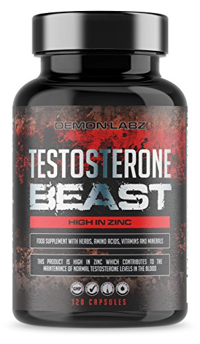 Testosterone Beast - Hardcore Testosterone Booster for Men - High in Zinc which contributes to Normal Testosterone Levels - 120 Capsules, 30 Servings