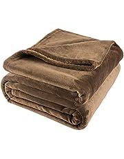 毛布 シングル ブランケット マイクロファイバー 毛布 掛け毛布 フランネル ふわふわ 柔らかい 軽くて暖かい オールシーズン快適 冷房対策 静電気防止 洗濯可能 (シングル・140X200cm, ブラウン)