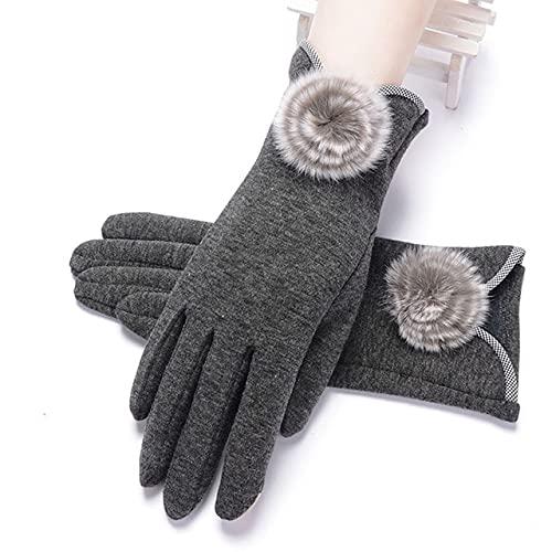 Nuevo Otoño Invierno Mujer Guantes de Encaje cálidos con Dedos completos Guantes de algodón con Pantalla táctil para Mujer-I31 Gray