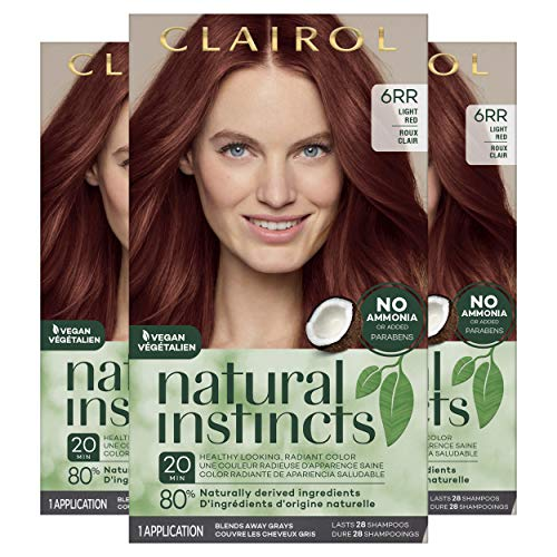Clairol Natural Instincts Semi-Permanent, 6RR Light Red, Caribbean Mahogany, Pack of 3