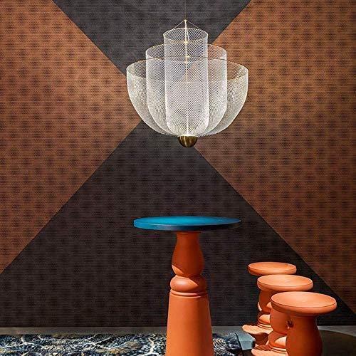 MJK Lámparas de techo Lámparas de techo, rejilla metálica bien hecha Luz nórdica Modelo moderno Casa Villa Sala de estar Café Restaurante Lámpara de araña Fácil de instalar 45 cm de diámetro