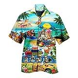 Camisa de manga corta para hombre con solapas, de punto suelto, con botones, para la playa D_azul. XXL