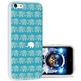 iPhone 5c Case Cool Cute,ChiChiC 360 Full Protective Anti Scratch Slim Flexible Soft TPU Gel Rubber Clear Cases Cover with Design for iPhone 5c,Cartoon Animal Cute Gold Elephant on Teal