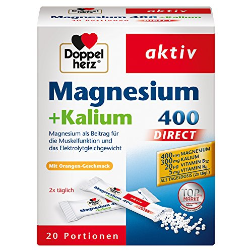 Doppelherz Magnesium 400 + Kalium DIRECT – für die normale Muskelfunktion und Nervensystem – 20 Sachets