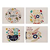 4 pezzi Tovaglietta pasquale Fiore Uovo di Pasqua Tovagliette tagliate in carta Tovagliette dipinte Happy Easter Antiscivolo Tovagliette lavabili Sottobicchiere per decorazioni pasquali, 32 x 42 cm
