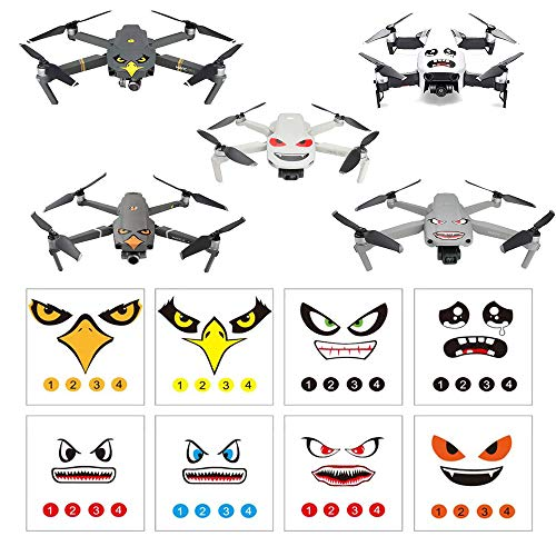 RCGEEK Stickers Set 3M Drone Decals Facial Expression Skins Compatible DJI Mavic Mini Mavic Air 2 Mavic 2 Pro/Zoom Mavic Pro Platinum/Pro Mavic Air Avoiding Birds Clashing, 8 Styles